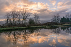 _DSC0017 - A winter morning (SWJuk) Tags: swjuk uk unitedkingdom gb britain england lancashire burnley home canal leedsliverpoolcanal straightmile towpath trees clouds sunlight cloud sunrise dawn daybreak bluesky golden water flat calm reflections 2018 jan2018 winter nikon d7100 nikond7100 18300mm wideangle rawnef lightroomclassiccc