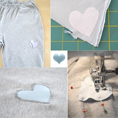 Heart Patch Collage (eppujensen) Tags: eppujensen 2018february everydaylife sewing menting repair clothes pants wearables patching patches heart knits textiles applique interfacing handmade