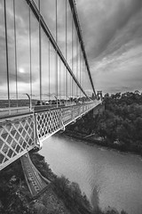 Clifton suspension bridge, Bristol (Piotr_PopUp) Tags: clifton cliftonsuspensionbridge bristol uk england britain greatbritain bridge wideangle blackandwhite blackwhite bw mono monochrome vertical cloud clouds cloudy samyang 14mm bnw