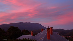 ROOFTOP SUNSET (Lani Elliott) Tags: landscape mountain lanielliott sky cloud clouds sunset moody dreamy kunanyi pink chimney chimneys rooftop mountwellington scenictasmania beautiful gorgeous superb awesome