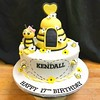 Bee-utiful Birthday Cake! (Sticky Fingers Bakery Specialty Cakes) Tags: vegan birthday vanilla buttercream fondant gumpaste bees bumblebee beehive hearts sugarflowers