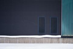 P1090711 (vargandras) Tags: wall pattern line grid snow symmetry metal concrete glass light