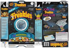 Freakies Cereal Box (Edlunddesign) Tags: graphicdesign vintage retro print usa english ephemera cereal freakies 1980s packaging grocery hologram box cerealbox 1987 aliens spaceships marshmallow boxtop kids boys fanclub packagedesign breakfast children marketing