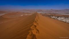 Footprints to Deadvlei (NettyA) Tags: 2017 africa deadvlei namibia sonya7r sossusvlei hiking sand sanddunes travel windy namibnaukluftnationalpark namibdesert footprints ridge
