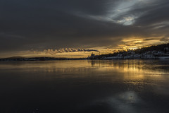 Shiny ice (loj5407) Tags: sky sunset smoke clouds ice sweden ornskoldsvik winter