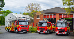 Gosforth Fire Station (firepicx) Tags: tyne wear fire rescue service gosforth station 999 emergency lineup volvo appliance engine truck lorry wagon category twfrs north east e01 e02 e03 nk10dvy nk60dwz nk10dhf