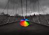 Centre stage (FocusPocus Photography) Tags: schrim regenschirm umbrella trübertag gloomyday wolkig cloudy colourful brücke bridge weinberge vineyards bunt