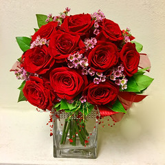 "#04V $85 One Dozen Roses arranged in a modern compact style with rhinestone banding and beautiful beading around cube style vase. • <a style=""font-size:0.8em;"" href=""http://www.flickr.com/photos/39372067@N08/25300005937/"" target=""_blank"">View on Flickr</a>"