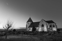 Peaceful (fred-4-ever) Tags: eglise church cross croix champagne sky ciel france blackandwhite bw noiretblanc monochrome leica qtype116 light lumière sunset