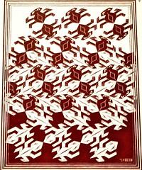 Regular Division of the Plane V (1957) - Maurits Cornelis Escher (1898-1972) (pedrosimoes7) Tags: mauritscornelisescher theescherfoundationcollection museudeartepopular lisbon portugal regulardivisionoftheplane roosfoundation geométrico geometric red rouge vermelho artgalleryandmuseums ✩ecoledesbeauxarts✩