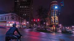 Commute (llabe) Tags: cityscape city transportation cyclist cycling bicycle bike commuter commute nightlights night urban downtown tacoma washington nikon d750