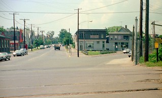 Not one the best photos I've ever taken, but it is what it is. 1970s and 1960s cars, old wood frame houses, abandoned railroad tracks near the corner of Munson Street and Canal Street in the Newhallville neighborhood. New Haven Connecticut. June 1972