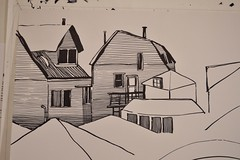 (Danny W. Mansmith) Tags: steps drawing sharpie 40x28 dannymansmith chicago friendsbackyardview houses studio burienwashington im blackandwhite art