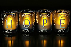 """""""Hope"""" is being able to see that there is light despite all of the darkness..............Desmond Tutu (nushuz) Tags: hope tealightvotiveholders smileonsaturday lightopia hopeisbeingabletoseethelightdespiteallthedarkness lettherebelight candles reflections message"""