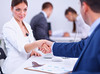 Business people shaking hands, finishing up a meeting (skyadsvietnam) Tags: people person business agreement men group leader handshake hands partners corporate power success teamwork unanimous male pile businessmen altogether joined worker agree positive union team colleagues support women coalition strength growth gesture together company unite staff work attitude consensus message job office happy businessman international communication belarus
