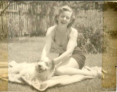 (912greens) Tags: 1940s women dogs pets backyards folksidontknow swimwear sunbathing