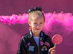 Pink (RemembrandtPhoto) Tags: girl young lady lollipop leather jacket diva enola gaye smoke grenade pink