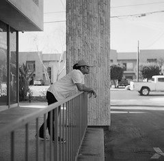 Stain on rail (50mmcooper) Tags: yashica yashicaa 120mm losangeles vannuys ilford ilford400 blackandwhite