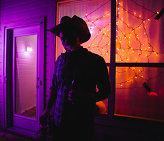 Halloween (BurlapZack) Tags: pentaxk1 pentaxfa20mmf28 vscofilm pack07 dallastx addisontx halloween halloweenparty cowboy vape vaping orange purple availablelight lowlight portrait handheld bokeh dof porch apartmentcomplex costume costumes costumeparty spooky spoopy scary haunted eerie spiderweb cowboyhat silhouette vapecloud