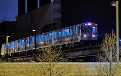 Hurtling through the night. (bkkay1) Tags: chicago cta