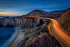 California Dreaming (atenpo) Tags: bixby bridge big sur california coast ca pacific beach highway 1 hwy one road old carmel creek ocean seashore car trails monterey county sunset night
