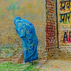 The beautiful hunchbacked woman (Pejasar) Tags: yellow textures paintcreations painterly artistic art woman blue dress covering walk streetcandid delhi india brick color