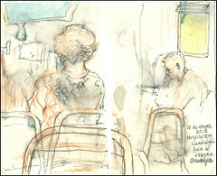 Hospital NYM. Cardiología. Salon de espera. Brooklyn. 10 de enero, 2018. (Sharon Frost) Tags: hospitals newyorkmethodist waitingrooms brooklyn cardiology drawings paintings sharonfrost urbansketchers molesking journals daybooks sketchbooks