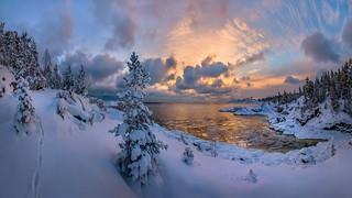 Winter dawn on Lake Ladoga