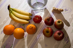 Smoothie (Lux Obscura) Tags: fruits bananas apples oranges ginger freshwater stilllife shadows tomato