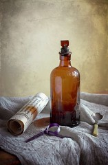 Still Life With Antique Poison Bottle (vesna1962) Tags: stilllife bottle glass brown poison tabletop textured antique