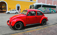 IMG_0299 Red VW (Cyberlens 40D) Tags: mexico yucatan valladolid red bug old cars redbug vws streets vehicles sunny hot cities towns sightseeing travel destinations