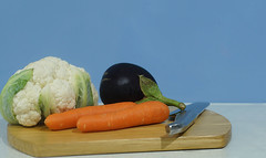 Vegetables ..... Day 34/365 (judith511) Tags: vegetables eggplant aubergine chopping board knife carrots cauliflower 365the2018edition 3652018 day34365 03feb18