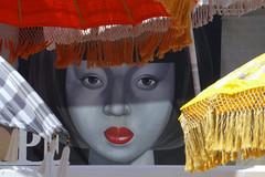 Little Ibiza girl (marthareichardt) Tags: sonnenschirme graffiti summer parasol face gesicht girl mädchen picture ibiza figueretas eyes augen redlips lippen