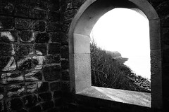 Ruin With a View (JamieHaugh) Tags: clevedon northsomerset england uk gb greatbritain sony a6000 outdoors blackandwhite blackwhite bw monochrome seaside coast window view room arch building ruin