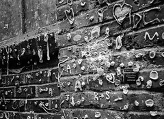 Gum Wall_5 (Rick Brandt) Tags: olympusxa washington trix pikeplacemarket seattle postalley d76 olympusxa2 blackandwhite film gumwall unitedstates us