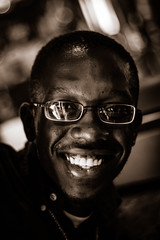 All Smiles Here (Johnny Silvercloud) Tags: black afroamerican africanamerican man monochrome blackandwhite