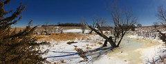Early Melting (Rocket Scientist Number 1) Tags: trees dead reeds weeds water ice melting sunny afternoon warning cedar elm panorama fine art scenic nebraska snow slush hilly hills
