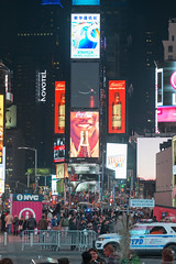 Times Square at Night (MikePScott) Tags: architecturalfeatures banner billboard buildings builtenvironment camera featureslandmarks flag logo newyork newyorkcity night nikon28300mmf3556 nikond800 people police sign skyscraper timessquare usa unitedstatesofamerica