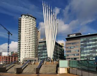 Pedestrian access, MediaCityUK mixed-use property development, Salford, Manchester, England