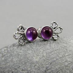 amade_filigree_amethyst_stud-earrings (ggagatka) Tags: silvercraft silverjewelry handmade handcrafted jewelrymaker silverart silversmithing craft earrings studearrings purple amethyst