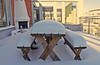 Time for some good old barbeque! On second thought... (Franz Airiman) Tags: snö ice is snow winter vinter stockholm sweden scandinavia bänk bench bord table veranda grill barbeque porch altan