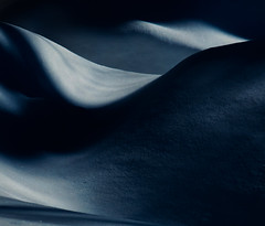 moonlight's tender caress (Reflectory (Chris Brown)) Tags: abstract abstraction minimal minimalism nature winter night curves contours shadows folds black white blue snow drifts moonlight landscape horizontal reflectory
