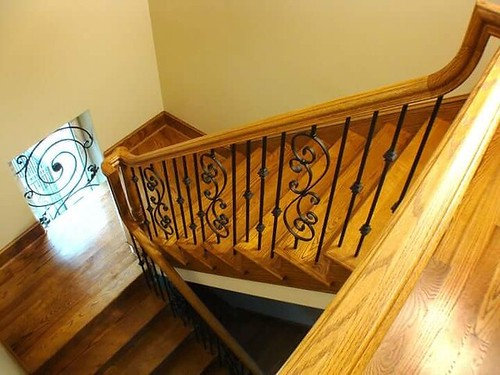 Staircase built and installed by Andronx stair company in Charlotte NC.