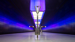 All over Europe, and back to Germany. Once again! (G-WWBB) Tags: ubahn hafencity railway rail station germany hamburg lights purple blue u4 reflection reflecting reflections