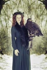 (Cristina Laugero) Tags: aquila hawk portrait bird birdofprey lady snow winter woods bosco neve red fairy woman ragazza ritratto