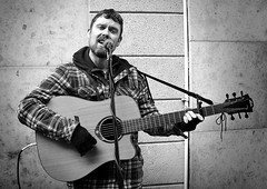 Back Home in Derry (Owen J Fitzpatrick) Tags: ojf people photography nikon fitzpatrick owen pavement chasing d3100 ireland editorial use only ojfitzpatrick eire dublin republic city tamron candid joe candidphotography candidphoto unposed natural j face along bw black white mono blackwhite blackandwhite monochrome blancoynegro pretoebranco photoshoot street 2018 centre acoustic electric busker music singer busk mic microphone henry guitar strings wall back home derry blanconegro
