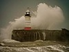 Stormy Times (bimbler2009) Tags: fujifilms9900w lighthouse port harbour sky cloud wave water sea ocean outdoor
