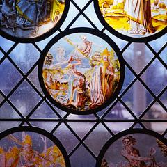 No One Gets Out Alive (colinpoe) Tags: cloisters religiosity window rolleiflexautomat kodakfilm symmetry tlr 6x6 rolleiflexautomatk4a creepy stainedglass ektar100 rolleiflex mediumformat 120