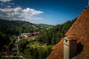 View from Bran Castle (Askjell) Tags: bran brancastle branvillage brasov castle dracula fortress prahova queen queenmarie romania tower undead vampire ghost hounted medieval middleage