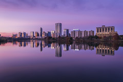 Austin, TX Along the Colorado River (Mr. Ansonii) Tags: texas austin atx river lake ladybirdlake purple pink skyscrapers skyline sunset evening d3300 sigma 1020mm sigma1020mm longexposure tripod テキサス州 オースティン ニコンカメラ 晩 高層ビル 川 湖